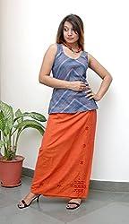 Geroo Women Maxi Length Skirt (SKUB-7, Orange, Free Size)