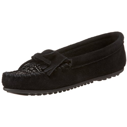 Minnetonka Women's Studded Moccasin,Black,8.5 M US