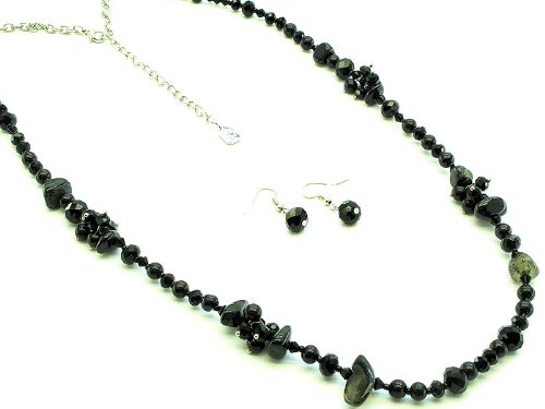 NECKLACE AND EARRING SET , GLASS BEAD , SEED BEAD , BLACK, Fashion Jewelry