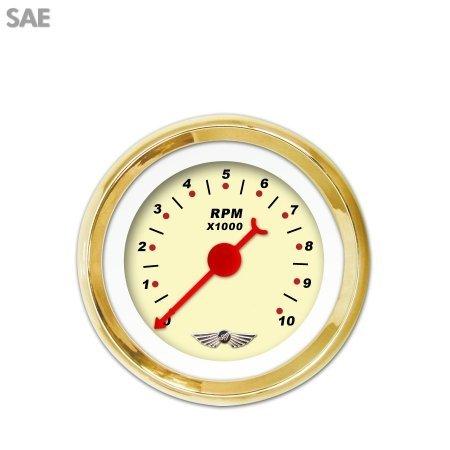 Red Modern Needles, Chrome Trim Rings, Style Kit Installed Aurora Instruments 1403 Pegged White SAE Volt Gauge