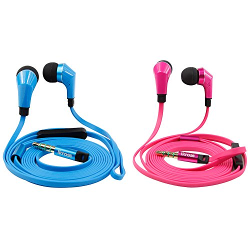 Ikross 2Pc In-Ear Headset W/ Mic Bundle Kit For Iphone, Ipod, Ipad, Samsung, Lg, Acer, Asus Tablets, Cell Phone, Mp3 Player: 3.5Mm Auxiliary W/ Noise-Isolation Stereo Earphones Earbud & Tangle-Free Flat Cable Handsfree Headphones ( Blue & Hot Pink )
