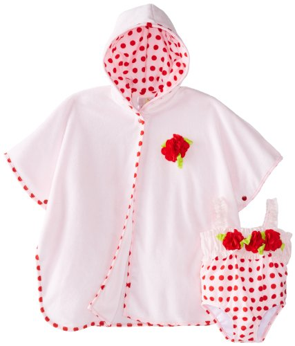 Absorba Baby-Girls Newborn Flower Robe And Dot Swim Set, Pink, 3-6 Months front-623072