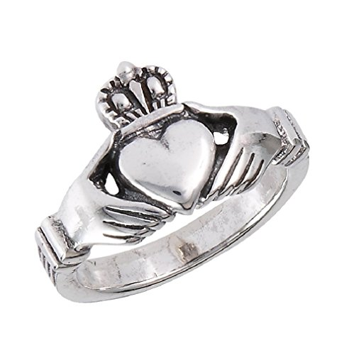 .925 Sterling Silver Traditional Claddagh Celtic Ring, Size 6 (Women Rings Size 6 compare prices)