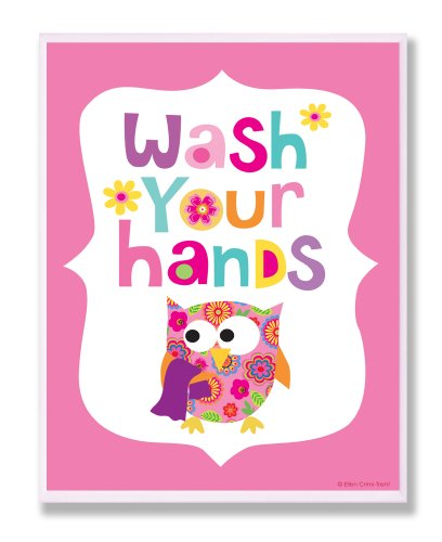 The Kids Room by Stupell Wash Your Hands on Pink Background Rectangle Wall Plaque