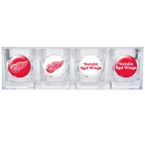 NHL Detroit Red Wings Four Piece Square Shot Glass Set (Individual Logos)