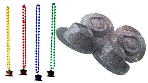 [8pc New Years Eve Fun Party Supplies 2017- 4 Silver Glitter Hats & 4 Necklace 2 Item Bundle] (Father Of The Year Costume)