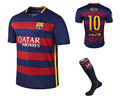 Barcelona Home Messi #10 / Neymar #11 Football Soccer Kids Jersey with Free Shorts & Socks set