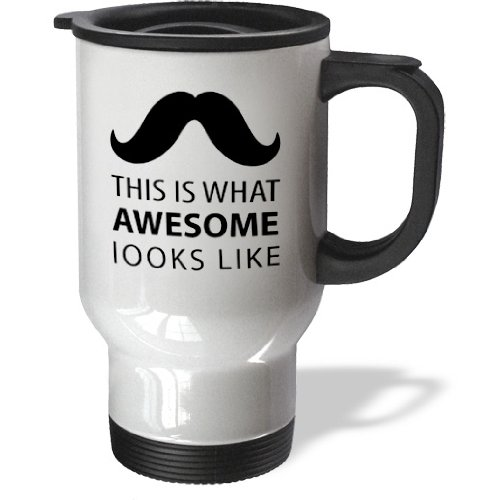 3Drose Awesome Mustache Hipster Retro Black And White Art Travel Mug, 14-Ounce