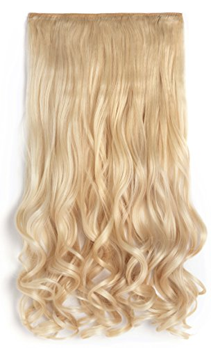 OneDor® 20″ Curly 3/4 Full Head Synthetic Hair Extensions Clip On/in Hairpieces 5 Clips 140g(613#-pre Bleach Blonde)