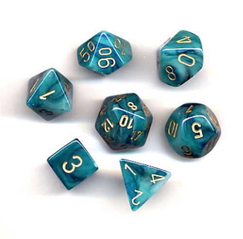 Polyhedral 7-Die Phantom Dice Set - Teal with Gold CHX-27489