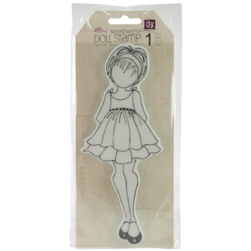 Prima Marketing Mixed Media Doll Cling Rubber Stamps, Doll with Ruffle Dress
