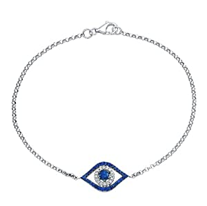 Victoria Kay 14k White Gold Diamond and Sapphire Evil Eye Bracelet (1/10cttw, IJ, I1-I2)