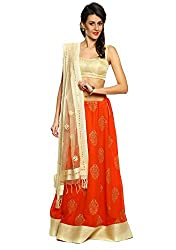 9Rasa Faux Georgette & Poly Brocade Hand Block Printed Lehanga Set with Unstitched ...