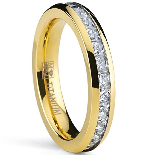 4Mm Gold Plated Princess Cut Women'S Eternity Titanium Ring Wedding Band With Cz Size 9