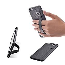 TFY Case Cover with Hand Strap Holder Stand for iPhone 6 (S) Plus (Black)
