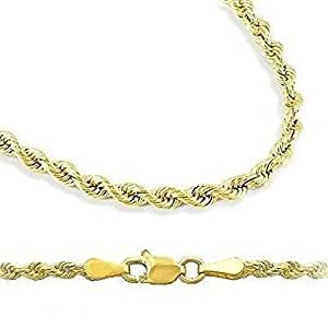 """18k Gold Plated 2mm Italian Rope Chain Necklace 7"""" 8"""" 9"""" 16"""" 18"""" 20"""" 24"""" 30"""" (7 Inches)"""