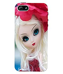 Fuson 3D Printed Cute Doll Designer Back Case Cover for Apple iPhone 5 - D723