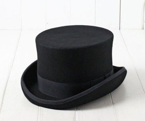 GEN ウールフェルト ミドルラウンシルクハット 14215 61cm XLサイズ LLサイズ 3Lサイズ 大きいサイズ トップハット フェルトハット フエルト 羊毛 フォーマル 正装 結婚式 披露宴 イベント パーティー メンズ 男性 紳士 帽子