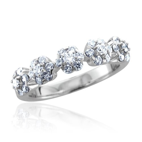 10k White Gold Flower Cluster Diamond Ring Band (HI, I, 0.66 carat)