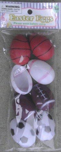 8 Plastic Easter Eggs Decorated Like Sports Balls - Football - Baseball - Soccer Ball - Basketball - 1