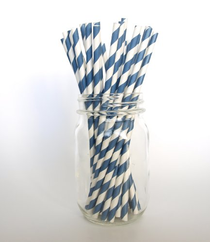 Navy Old-School Pinstriped Sipping Straws - 25 Pack - Cute In Mugs, Glasses, Mason Jars, And Plastic Cups back-932310