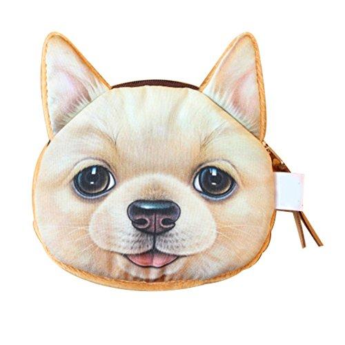 Uming® Bunte Fashion Arbeiten Sie Cute Animal nette Tier Frauen Geldbörse Wallet Purse Kleines Mädchen Mit Zipper Reißverschluss Beutel Baumwoll material Cloth Fabric Stoff Geldbörse Portemonnaie | Hund-Golden Hund