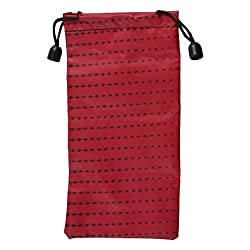 Black Lozenge Pattern Red Polyester Glasses Bag Pouch Holder