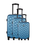 Bag Stone Set de 3 trolleys rígidos Eden (Azul)