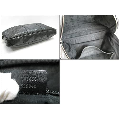 [グッチ] GUCCI ブリーフケース 黒系 ブラック 塩化ビニールコーティングインプリメ×レザー 201480 [中古]
