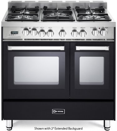 Verona-VEFSGE365NDE-36-Double-Oven-Dual-Fuel-Range-with-5-Sealed-Gas-Burners-24-cu-ft-Oven-Capacity-Quiet-Hinge-Storage-Drawer-Electronic-Ignition-Digital-Clock-and-Timer-In