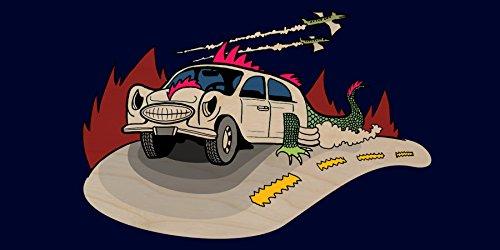"""Dino Car"" Funny Dinosaur Lizard Car Cartoon - Plywood Wood Print Poster Wall Art front-731358"