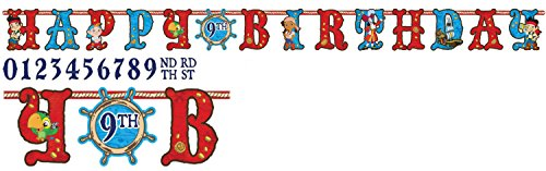 Disney Junior Jake and the Neverland Pirates Kids Birthday Party Jumbo Add An Age Letter Banner 10 Ft. (1ct)