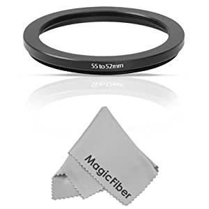 Goja 55-52mm Step-Down Adapter Ring (55mm Lens to 52mm Accessory) + Bonus Ultra Fine Microfiber Lens Cleaning Cloth