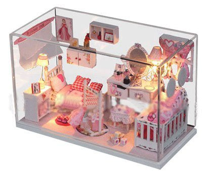 Big Dollhouse Miniature Diy Wood Frame Kit With Light Model Sweet Promise Gift Ldollhouse48-D63