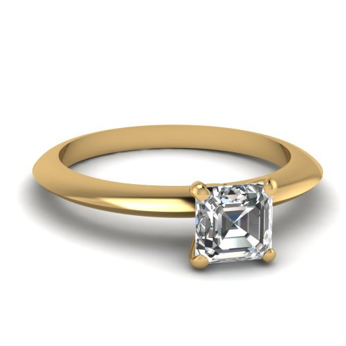 Fascinating Diamonds 1 Ct Asscher Cut Diamond Solitaire Knife Edge Style Engagement Ring Gold 14K Gia