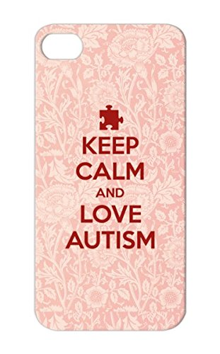 Shockproof Support Love Family Baby And Heart Autistic On Puzzle Keep Calm Awareness Autism For Iphone 5/5S Bronze Keep Calm Love Protective Case front-430519