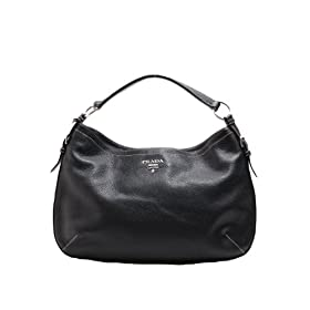 Prada BR3349 Hobo Black Leather Handbag