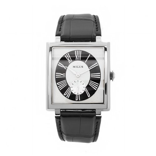 Milus Women's HER002 Herios Black Leather Strap White Dial Watch