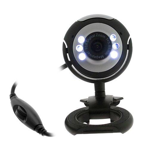 Gtmax 8 Mega Pixel Usb Webcam With Microphone/Snapshot/6 Led Lights For Laptop/Notebook - Black