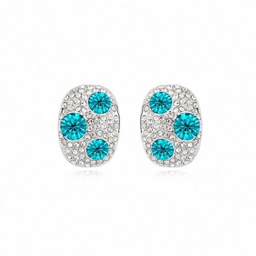 TAOTAOHAS- [ Search Name: Colorful Mushroom ] (1PAIR) Crystallized Swarovski Elements Austria Crystal Earrings, Made of Alloy Plated with 18K True Platinum / White Gold and Czech Rhinestone