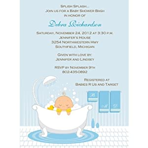 bath time boy baby shower invitations set of 20 baby