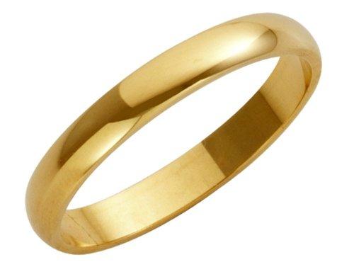 18ct Yellow Gold Ladies 3mm Heavy D-Shape Wedding Ring