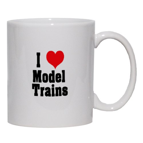 I Love/Heart Model Trains Mug for Coffee / Hot Beverage 15 oz. YELLOW