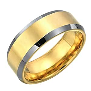 Stunning Mens Tungsten Ring Two Tone Wedding Band 8mm Gold (7)