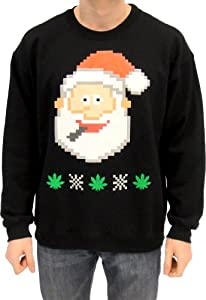 Ugly Christmas Sweater - Santa Claus Smoking Marijuana Adult Black Sweatshirt