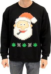 Ugly Christmas Sweater - Santa Claus Smoking Marijuana Adult Black Sweatshirt