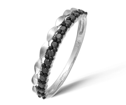 9ct White Gold 0.28ct Black Diamonds Half Eternity Ring