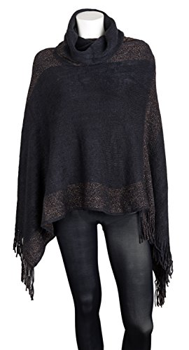 Sportoli™ Women's Thick Warm Knitted Winter Shawl Cape Poncho Wrap with Cowl Neck - Black (One Size) (Cowl Cashmere compare prices)