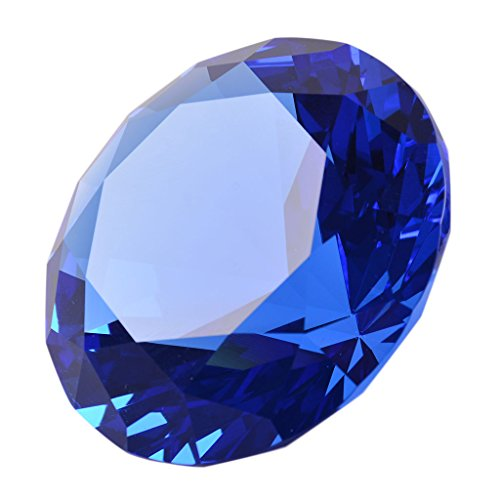 LONG SHENG 60mm Diameter Crystal Faceted Diamond Paperweight Wedding Favor Christmas Ornaments Home Decor(Blue)