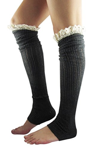 Spring Fever Crochet Lace Trim Cotton Knit Leg Warmers Boot Socks